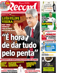 capa Jornal Record de 25 março 2018