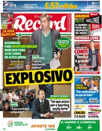 capa Jornal Record de 25 maio 2018