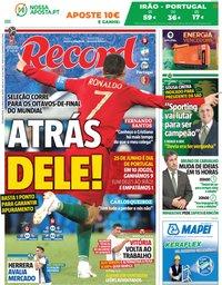 capa Jornal Record de 25 junho 2018