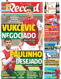 capa Jornal Record de 25 julho 2018