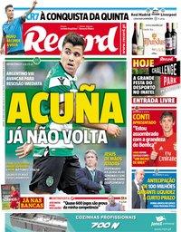 capa Jornal Record de 26 maio 2018