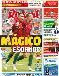 capa Jornal Record de 26 junho 2018