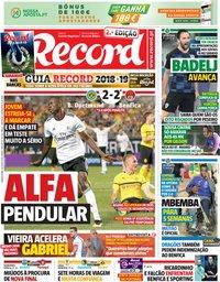 capa Jornal Record de 26 julho 2018