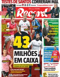 capa Jornal Record de 27 março 2018
