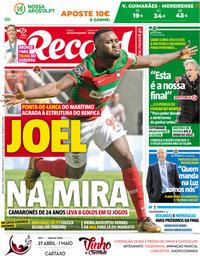 capa Jornal Record de 27 abril 2018