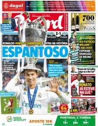 capa Jornal Record de 27 maio 2018