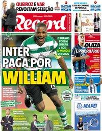 capa Jornal Record de 27 junho 2018