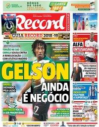 capa Jornal Record de 27 julho 2018
