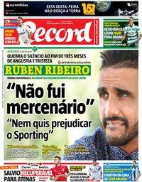 capa Jornal Record de 27 setembro 2018