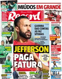 capa Jornal Record de 28 março 2018