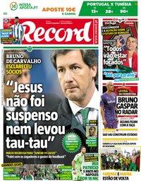 capa Jornal Record de 28 maio 2018