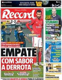 capa Jornal Record de 28 setembro 2018