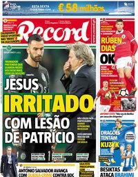 capa Jornal Record de 29 março 2018