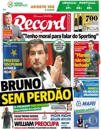 capa Jornal Record de 29 junho 2018