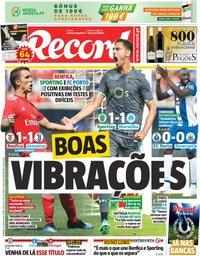 capa Jornal Record de 29 julho 2018
