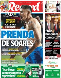 capa Jornal Record de 29 setembro 2018