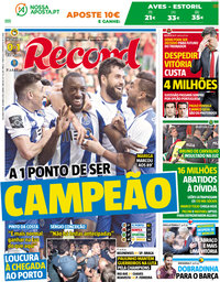 capa Jornal Record de 30 abril 2018