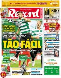 capa Jornal Record de 30 setembro 2018