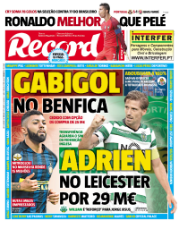 capa Jornal Record de 1 setembro 2017