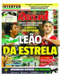capa Jornal Record de 4 janeiro 2018