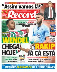 capa Jornal Record de 5 janeiro 2018