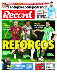 capa Jornal Record de 6 janeiro 2018