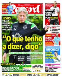 capa Jornal Record de 10 janeiro 2018