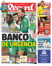 capa Jornal Record de 11 janeiro 2018