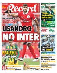 capa Jornal Record de 12 janeiro 2018