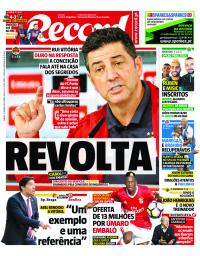 capa Jornal Record de 13 janeiro 2018