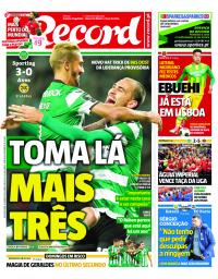 capa Jornal Record de 15 janeiro 2018