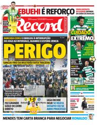 capa Jornal Record de 16 janeiro 2018