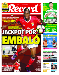 capa Jornal Record de 18 janeiro 2018