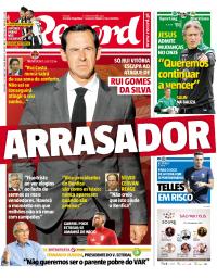 capa Jornal Record de 19 setembro 2017