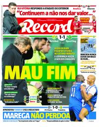 capa Jornal Record de 20 janeiro 2018