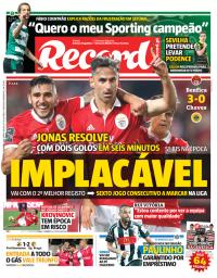 capa Jornal Record de 21 janeiro 2018