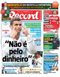 capa Jornal Record de 22 janeiro 2018