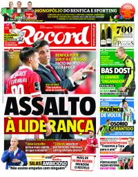 capa Jornal Record de 29 janeiro 2018
