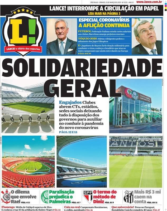 capa Jornal Lance! São Paulo