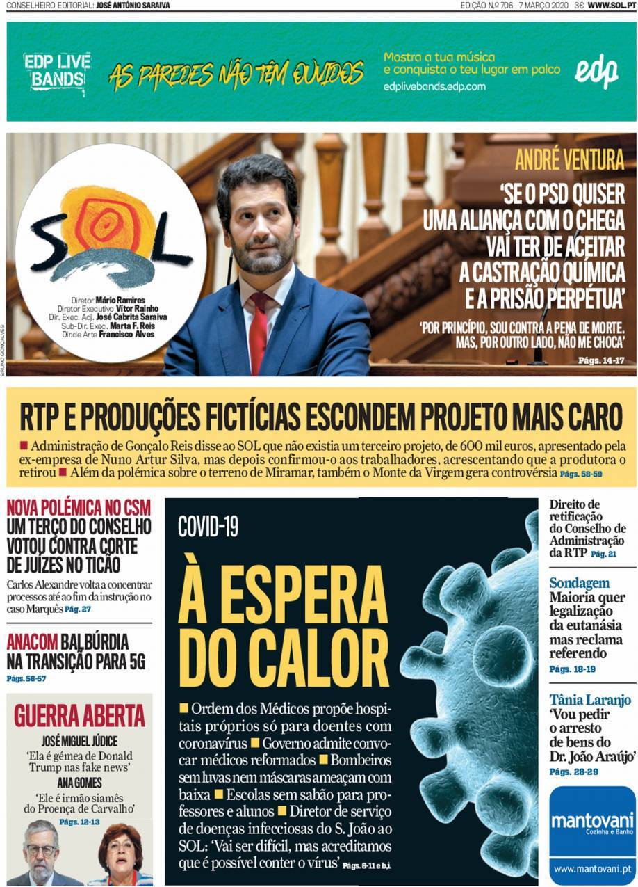 Capa Jornal SOL - 10 março 10 - capasjornais.pt