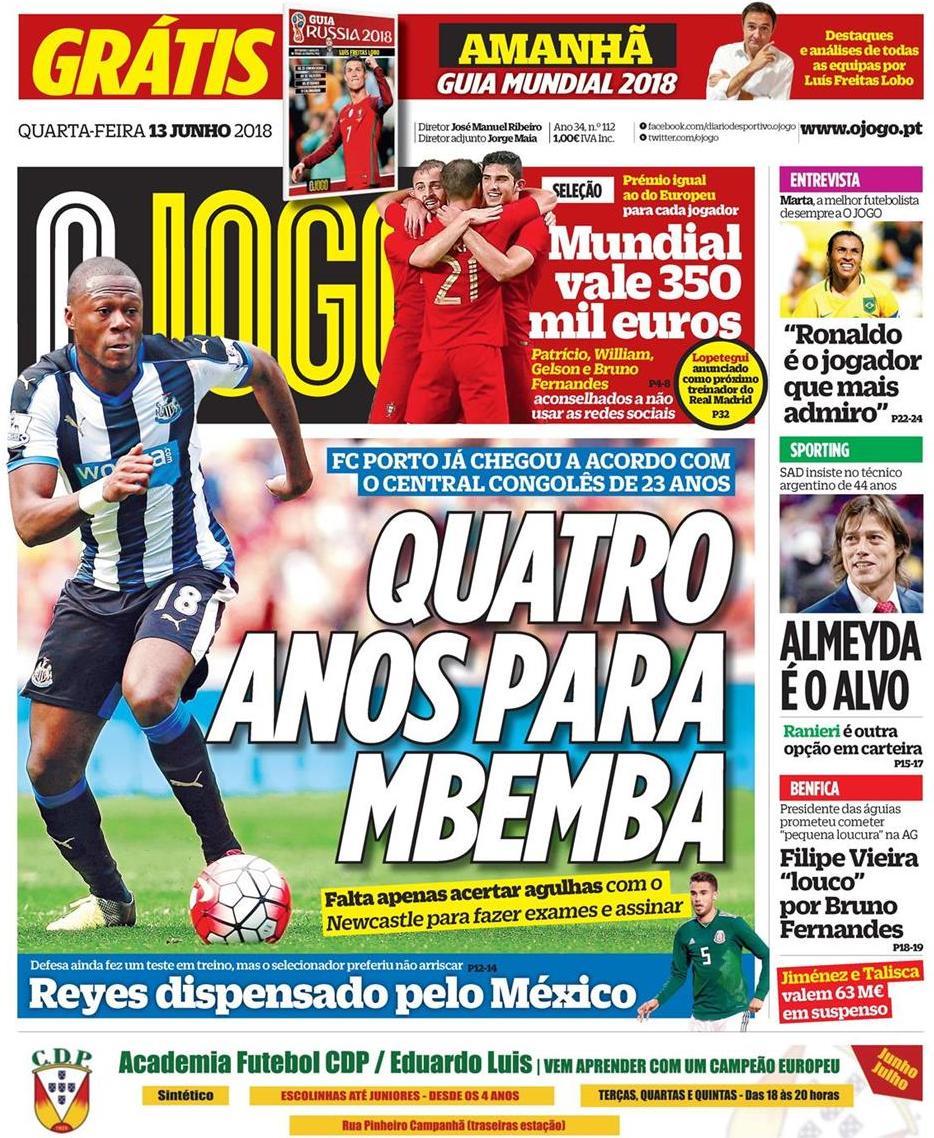 capa Jornal O Jogo